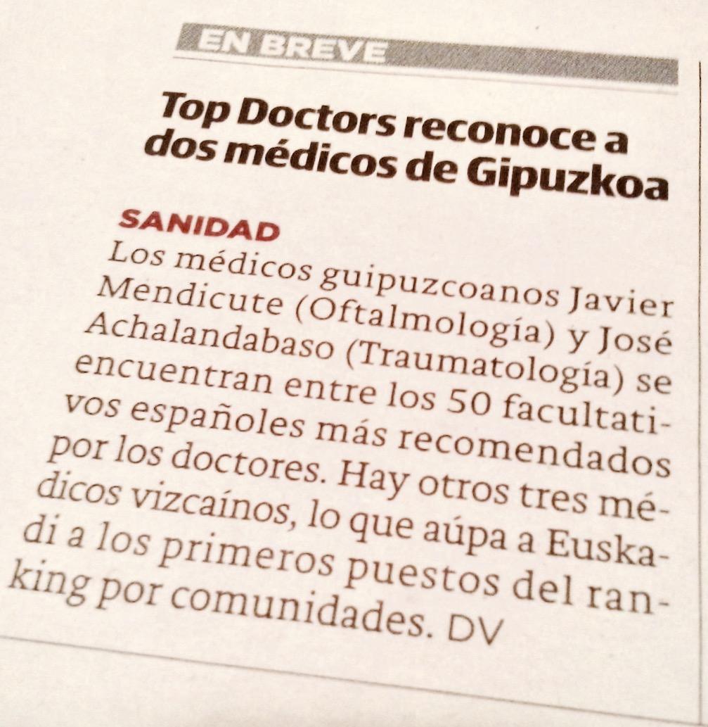 Top Doctors reconoce a dos médicos de Gipuzkoa